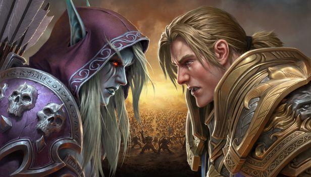 Бесплатные фото цифровое искусство,произведения искусства,видеоигры,Warcraft,World of Warcraft,World of Warcraft: битва за Азерот,Сильвана Ветрокрылая,Андуин Вринн,блондинка,эльфий,белые волосы,красные глаза