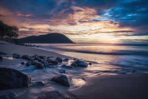 Заставки Пляж де ла Гранд Анс, Антильские острова, закат