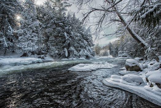 Фото бесплатно Река Чайка возле Миндена, Онтарио, зима