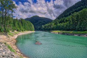 Photo free Washington State, Riffe Lake, mountains