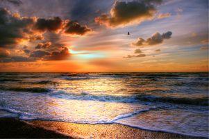 Фото бесплатно волны, закат, песок