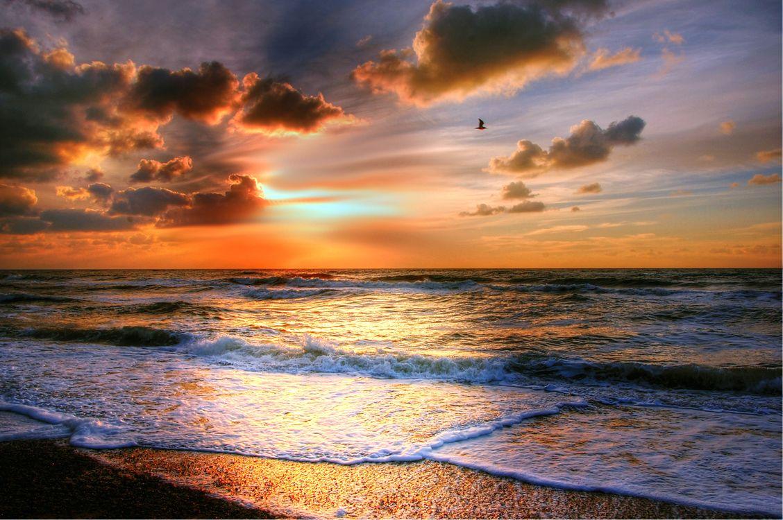 Фото бесплатно волны, закат, песок - на рабочий стол