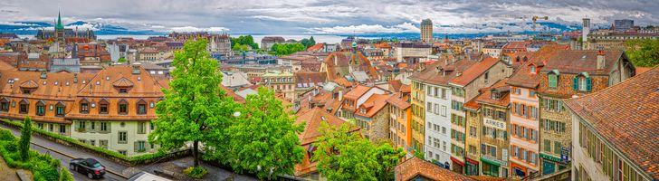 Заставки Old Town Lausanne,Switzerland,Старый город Лозанна,Швейцария,панорама