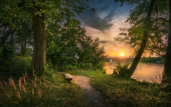 Фото бесплатно озеро, закат, Скиптон