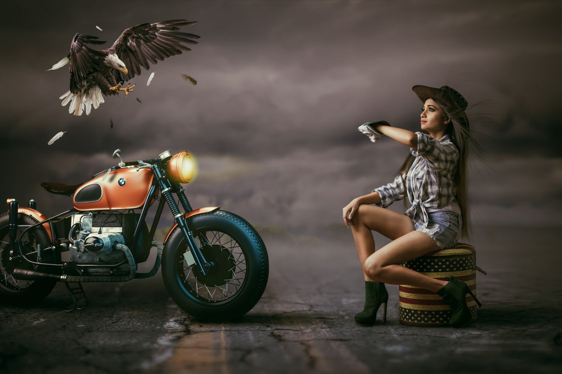 Photos for free girl, motorcycle, eagle - to the desktop