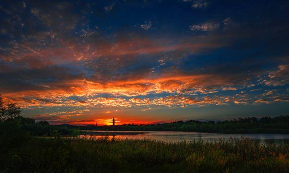Фото бесплатно река, закат, тростник