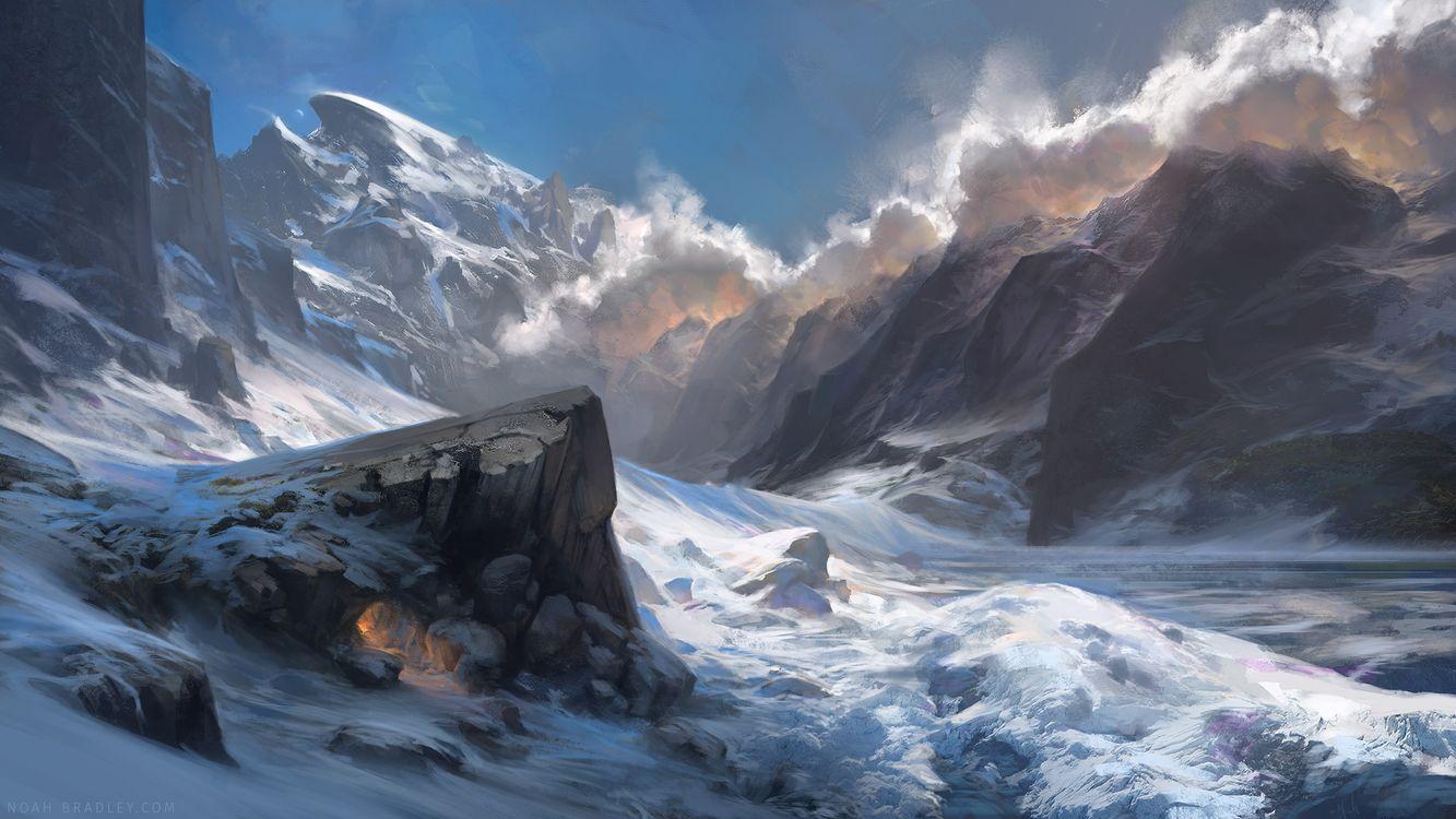 Фото бесплатно ноа брэдли, пейзаж, произведения искусства, горы, снег, ветер, облака, туман, рендеринг