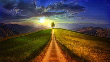Фото бесплатно закат солнца, поле, дорога, горы, трава, небо, облака, стая птиц, пейзаж