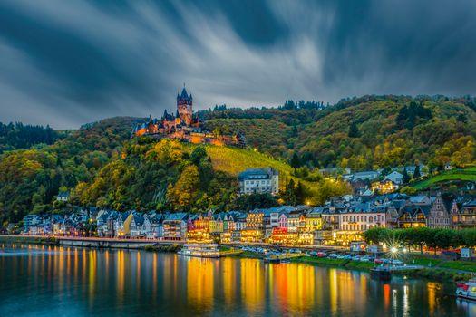 Фото бесплатно Cochem, Germany, ранней осенью, небо, тучи, вечер, освещение, Кохем, река Мозель, Германия в сумерках, Mosel, Кохем-Мозельская Долина