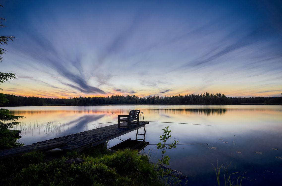 Фото бесплатно Finland, озеро, закат, сумерки, небо, отражение, лес, деревья, природа, причал, мостик, место рыбной ловли, рыбалка, пейзаж, пейзажи