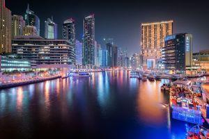 Фото бесплатно Ночной город, Дубай ОАЭ ночь, освещение
