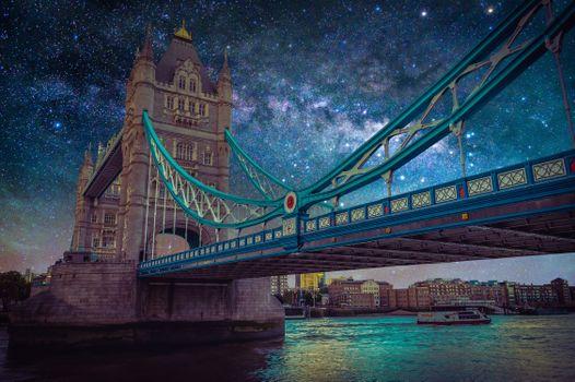 Фото бесплатно Пейзаж с галактикой Млечного пути, Ночное небо, звезды