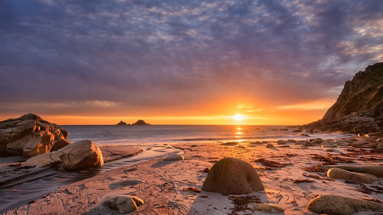 Обои закат, море, берег картинки на телефон