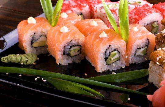 Фото бесплатно суши, рис, овощи