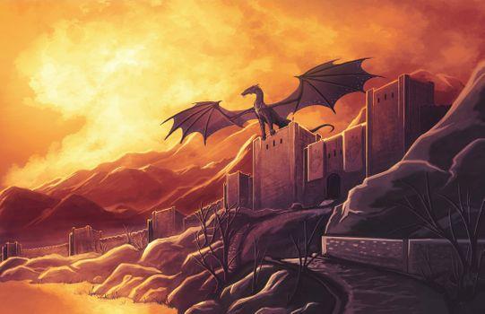 Дракон с распростертыми крыльями