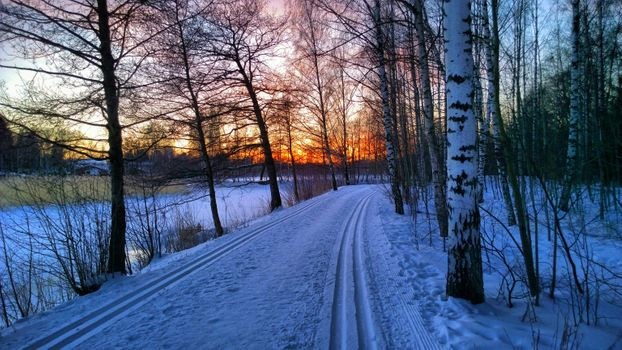 Бесплатные фото Красочный закат на лыжной трассе,Таммисало,Хельсинки,Финляндия,закат,зима,дорога,водоём,лес,деревья,природа,пейзаж