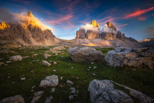 Фото бесплатно sunset, Lavaredo Peaks, Dolomites