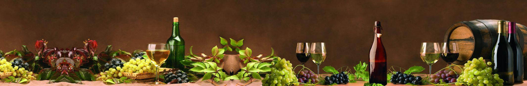 Фото бесплатно вино, бокалы, бочка, виноград, ягоды, натюрморт, напиток, панорама