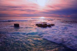 Фото бесплатно океан, закат, пейзаж