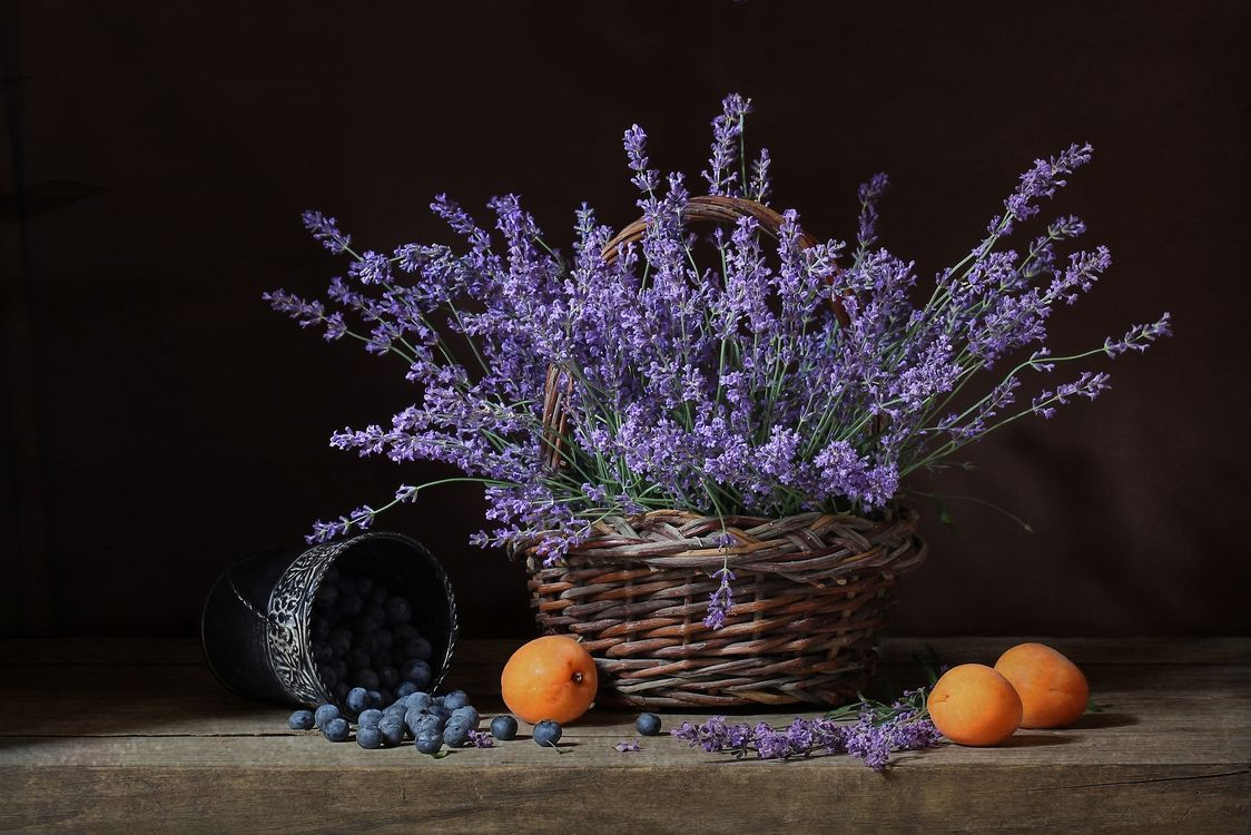 Free photo still life, vase, flowers, table, lavender - to desktop