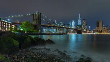 Заставки Бруклинский мост, Нью-Йорк, Бруклин и Манхэттен