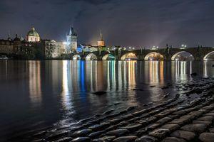 Фото бесплатно мосты, ночь, Прага