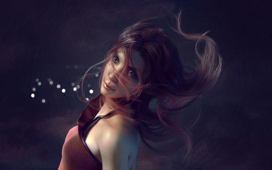 Заставки нарисованная девушка, волосы, платье