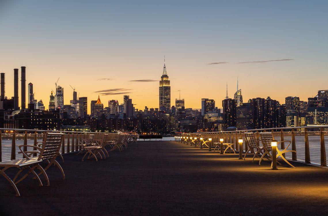 Фото бесплатно Нью-Йорк, городской пейзаж, здание, архитектура, город, городской, оранжевый, небо, манхэттен, река, США, закат, небоскреб, город