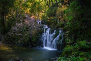 Фото бесплатно водопад, скалы, лес, деревья, природа, пейзаж