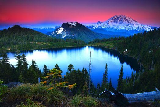 Фото бесплатно Закат, Альпенглоу, гора Ренье