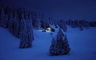 Бесплатные фото зима,ночь,горы,Польша,снег,домик,хижина