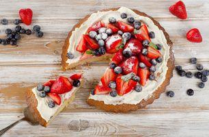 Бесплатные фото пирог,десерт,крем,ягоды