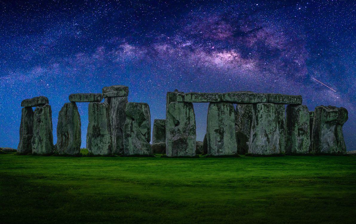 Фото бесплатно археология, архитектура, Британия, Англия, трава, Стоунхендж, Великобритания, сумерки, сияние, камни, пейзаж, пейзажи
