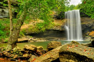 Заставки Greeter Falls, водопад, скалы