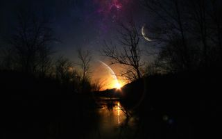 Фантастический пейзаж с планетами · бесплатное фото