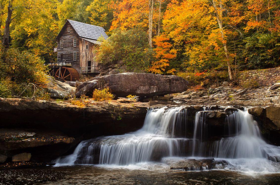 Фото бесплатно Glade Creek Grist Mill, Babcock State Park, водопад, осень, скалы, водяная мельница, лес, деревья, природа, осенние краски, пейзаж, пейзажи - скачать на рабочий стол