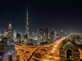 Фото бесплатно Дубай ОАЭ ночь, освещение, ночные города