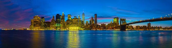 Фото бесплатно Нью-Йорк, ночь, огни