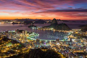 Фото бесплатно сумерки, ночной город, город