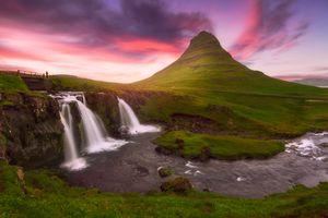 Фото бесплатно водопад, закат, Kirkjufellsfoss