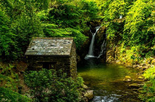 Заставки Южный Лейкленд,камбрия,Англия,зеленый,Озерный район,водопад,пейзаж