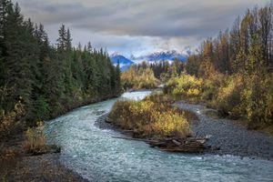 Фото бесплатно Alaska, Chugach National Forest, осень, река, деревья, пейзаж