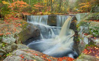Осенний водопад в лесу