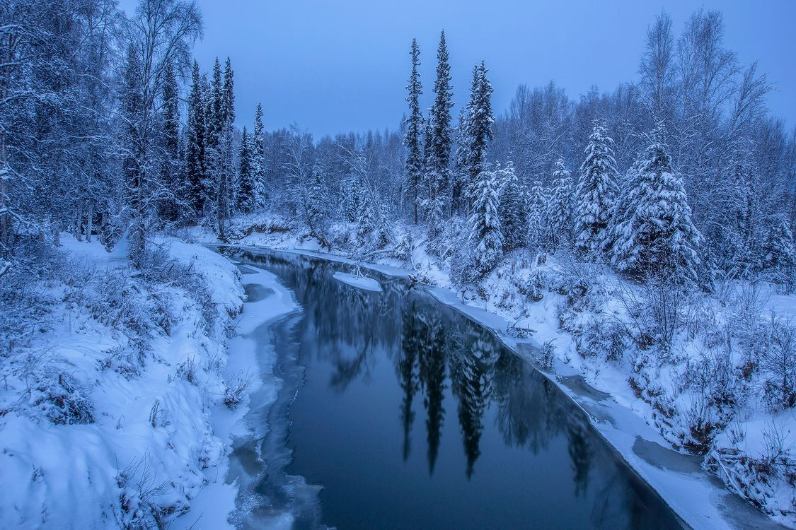 Free photo Alaska, winter, river - to desktop