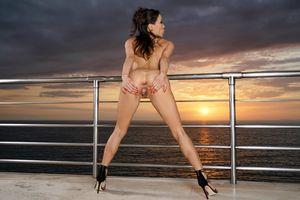 Бесплатные фото Kalina Ryu,Лилия,океан,море,закат,голая,киска