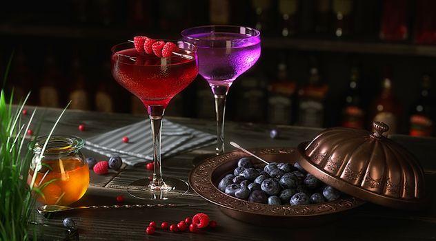 Бесплатные фото напитки,бокалы,ягоды