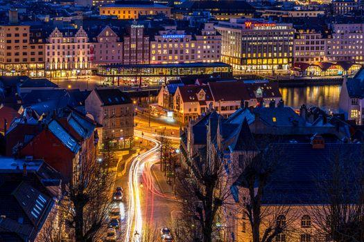 Photo free Norway, night city, night