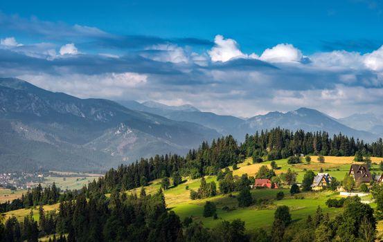 Заставки горы,татра,карпаты,польша,холмы,небо,деревья,дома,пейзаж