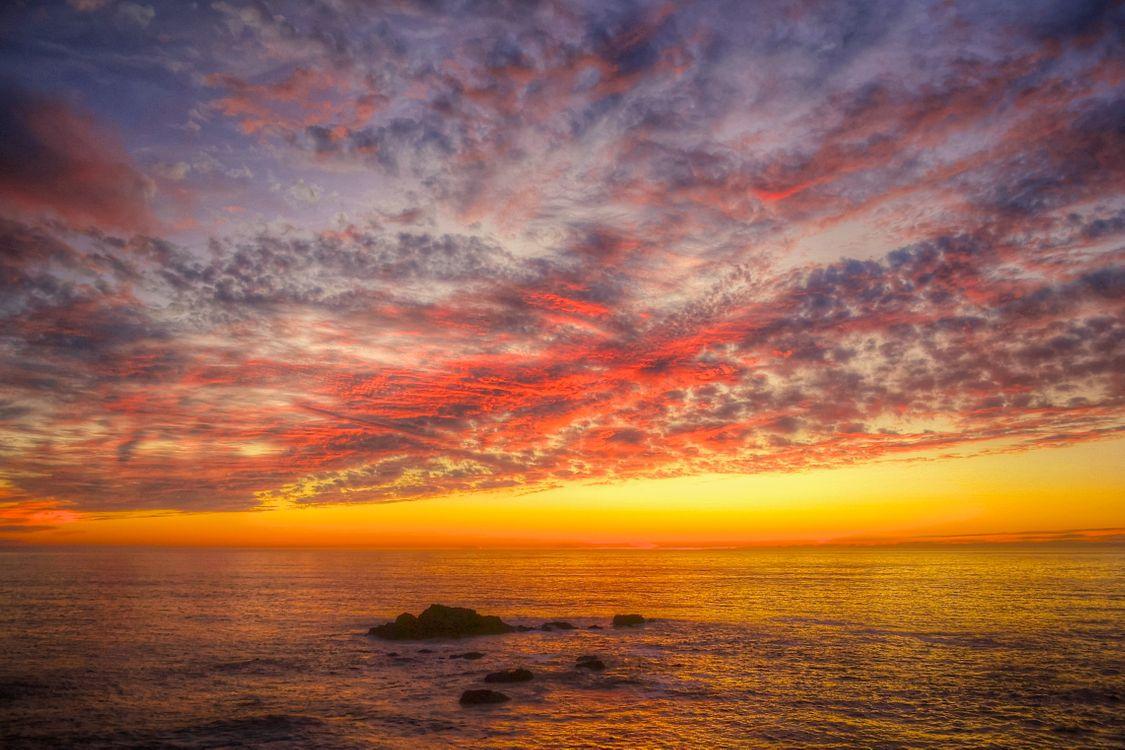 Красное морское небо · бесплатное фото