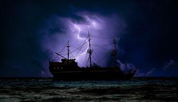 Фото бесплатно волны, молния, парусники